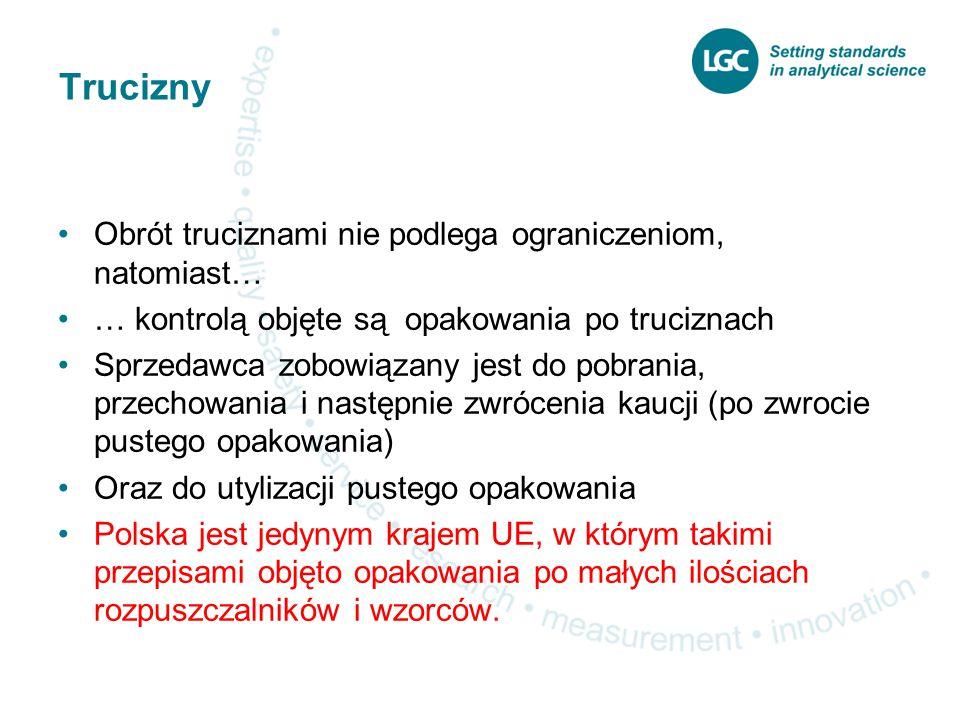 Trucizny Obrót truciznami nie podlega ograniczeniom, natomiast… … kontrolą objęte są opakowania po truciznach Sprzedawca zobowiązany jest do pobrania, przechowania i następnie zwrócenia kaucji (po zwrocie pustego opakowania) Oraz do utylizacji pustego opakowania Polska jest jedynym krajem UE, w którym takimi przepisami objęto opakowania po małych ilościach rozpuszczalników i wzorców.