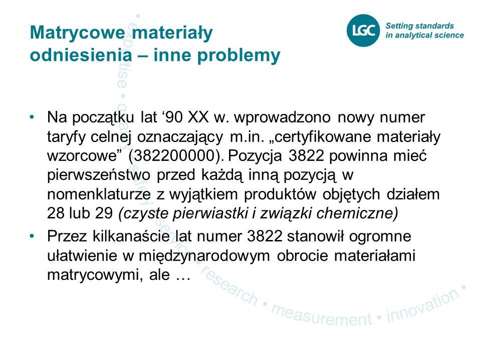 Matrycowe materiały odniesienia – inne problemy Na początku lat '90 XX w.