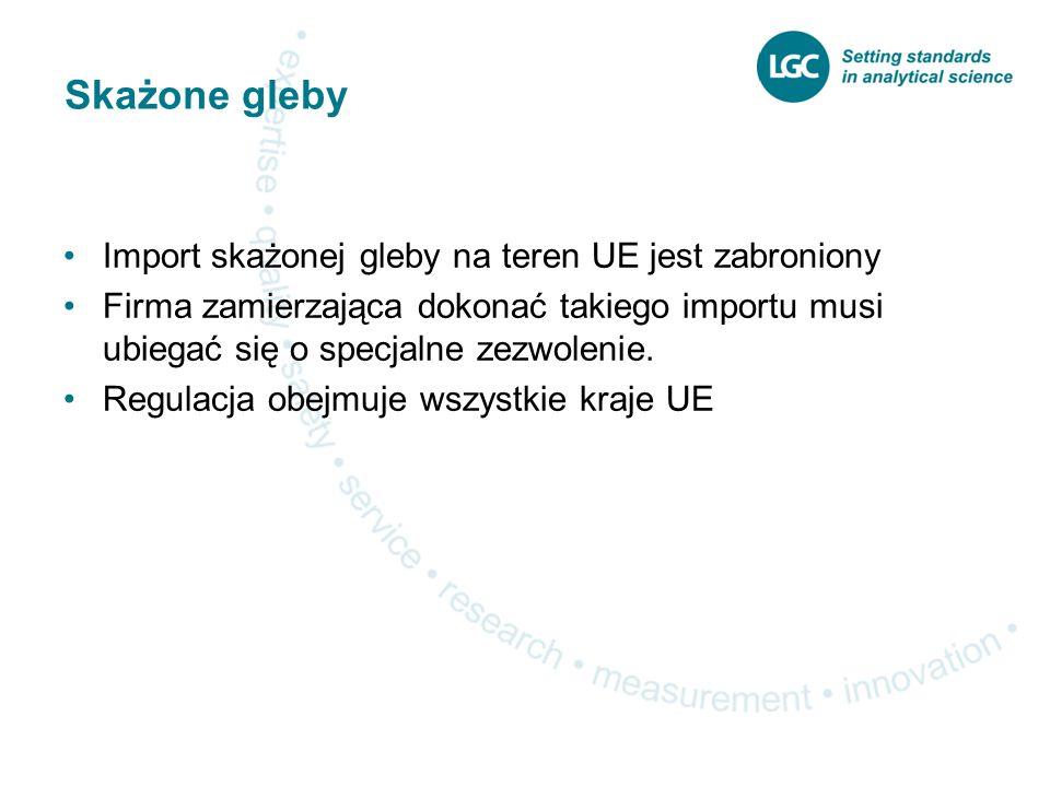 Skażone gleby Import skażonej gleby na teren UE jest zabroniony Firma zamierzająca dokonać takiego importu musi ubiegać się o specjalne zezwolenie.