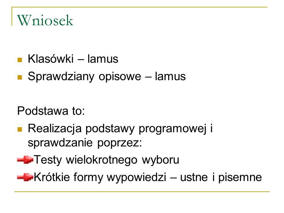 Wniosek Klasówki – lamus Sprawdziany opisowe – lamus Podstawa to: Realizacja podstawy programowej i sprawdzanie poprzez: Testy wielokrotnego wyboru Kr