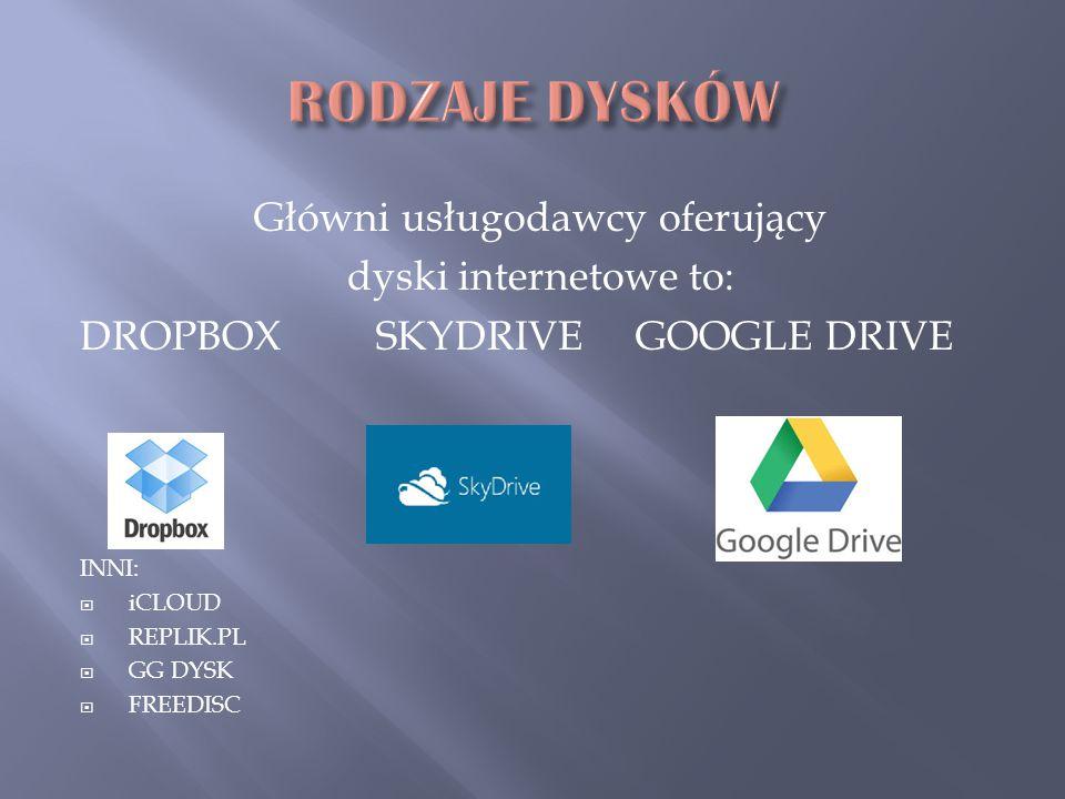 Główni usługodawcy oferujący dyski internetowe to: DROPBOX SKYDRIVE GOOGLE DRIVE INNI:  iCLOUD  REPLIK.PL  GG DYSK  FREEDISC