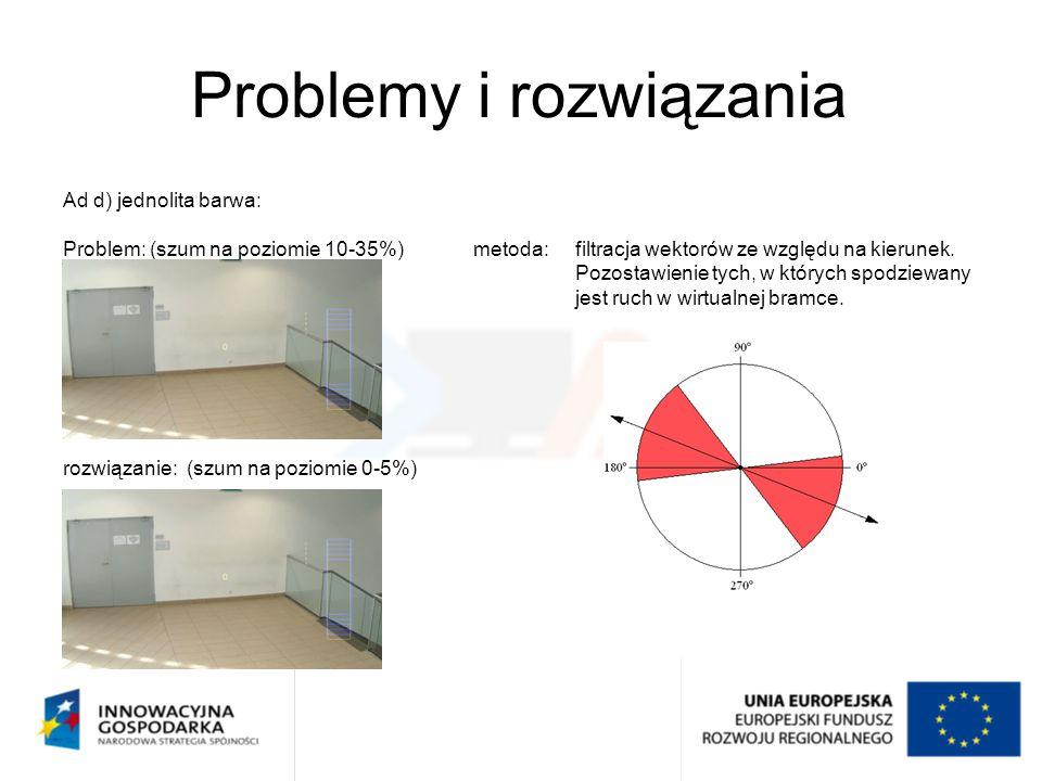 Problemy i rozwiązania Ad d) jednolita barwa: Problem: (szum na poziomie 10-35%)metoda:filtracja wektorów ze względu na kierunek. Pozostawienie tych,