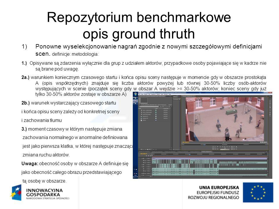 Repozytorium benchmarkowe opis ground thruth 1)Ponowne wyselekcjonowanie nagrań zgodnie z nowymi szczegółowymi definicjami scen. definicje: metodologi