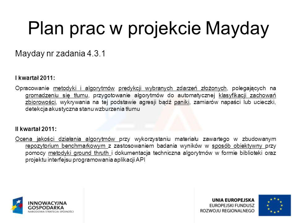 Plan prac w projekcie Mayday Mayday nr zadania 4.3.1 I kwartał 2011: Opracowanie metodyki i algorytmów predykcji wybranych zdarzeń złożonych, polegają