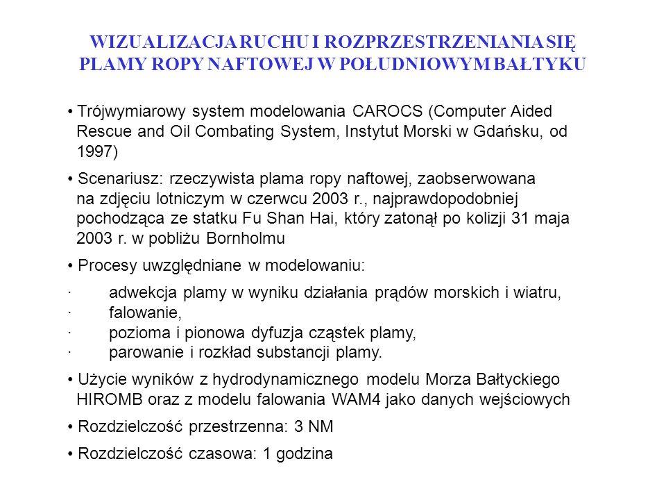 WIZUALIZACJA RUCHU I ROZPRZESTRZENIANIA SIĘ PLAMY ROPY NAFTOWEJ W POŁUDNIOWYM BAŁTYKU Trójwymiarowy system modelowania CAROCS (Computer Aided Rescue and Oil Combating System, Instytut Morski w Gdańsku, od 1997) Scenariusz: rzeczywista plama ropy naftowej, zaobserwowana na zdjęciu lotniczym w czerwcu 2003 r., najprawdopodobniej pochodząca ze statku Fu Shan Hai, który zatonął po kolizji 31 maja 2003 r.