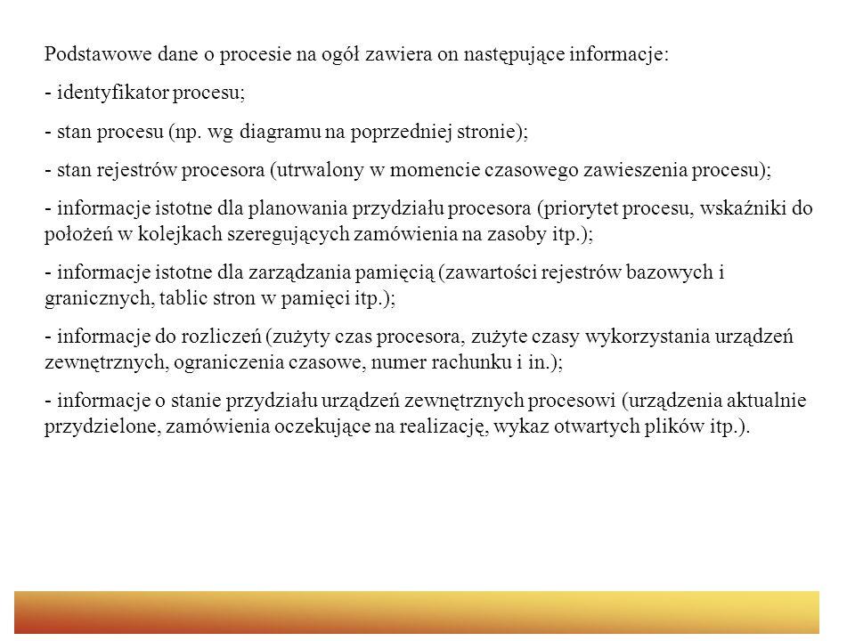 Podstawowe dane o procesie na ogół zawiera on następujące informacje: - identyfikator procesu; - stan procesu (np.