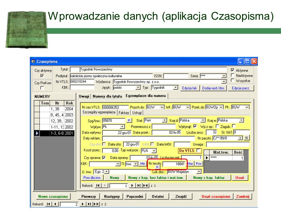 Wprowadzanie danych (aplikacja Czasopisma)