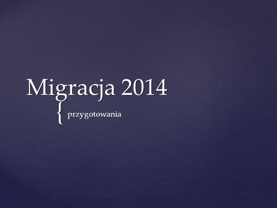 { Migracja 2014 przygotowania