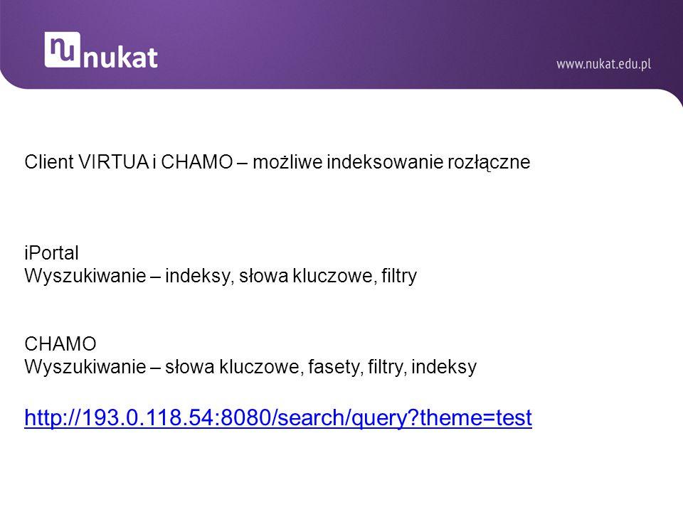 Client VIRTUA i CHAMO – możliwe indeksowanie rozłączne iPortal Wyszukiwanie – indeksy, słowa kluczowe, filtry CHAMO Wyszukiwanie – słowa kluczowe, fas