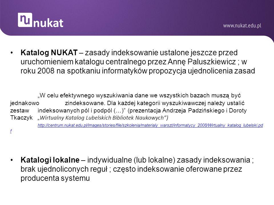 Katalog NUKAT – zasady indeksowanie ustalone jeszcze przed uruchomieniem katalogu centralnego przez Annę Paluszkiewicz ; w roku 2008 na spotkaniu info