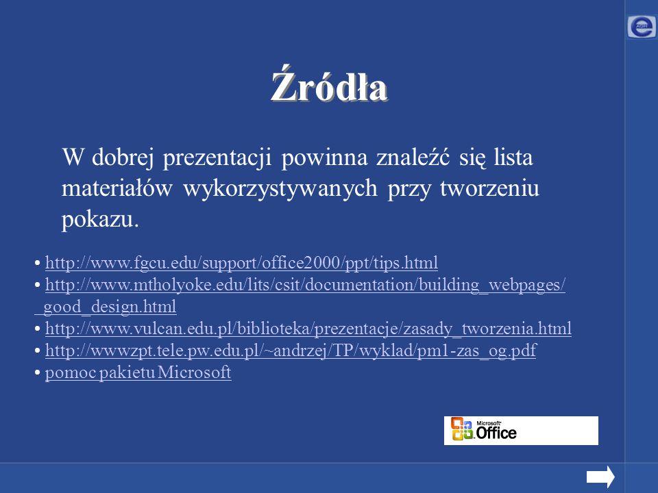Źródła W dobrej prezentacji powinna znaleźć się lista materiałów wykorzystywanych przy tworzeniu pokazu. http://www.fgcu.edu/support/office2000/ppt/ti