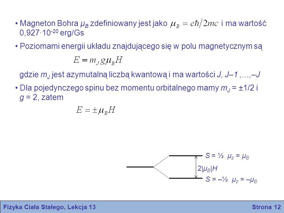 Fizyka Ciała Stałego, Lekcja 13 Strona 12 Magneton Bohra μ B zdefiniowany jest jako i ma wartość 0,927∙10 -20 erg/Gs Poziomami energii układu znajdują