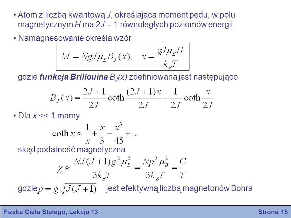 Fizyka Ciała Stałego, Lekcja 13 Strona 15 Atom z liczbą kwantową J, określającą moment pędu, w polu magnetycznym H ma 2J – 1 równoległych poziomów ene