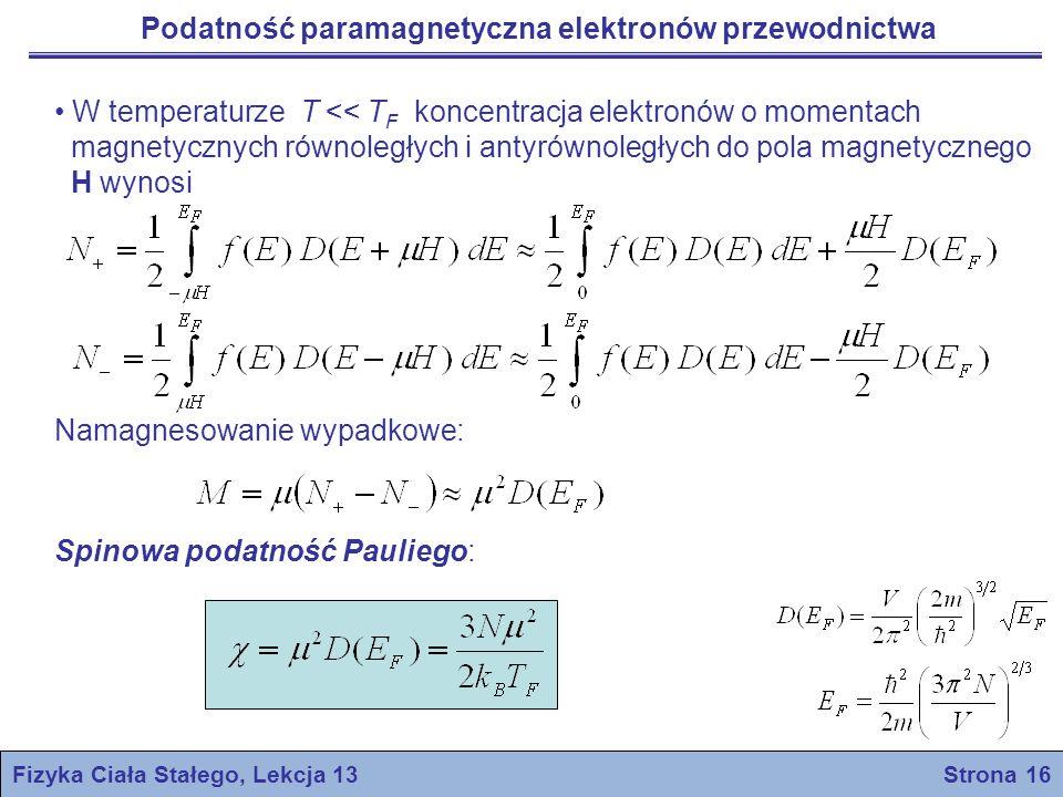 Fizyka Ciała Stałego, Lekcja 13 Strona 16 Podatność paramagnetyczna elektronów przewodnictwa W temperaturze T << T F koncentracja elektronów o momenta