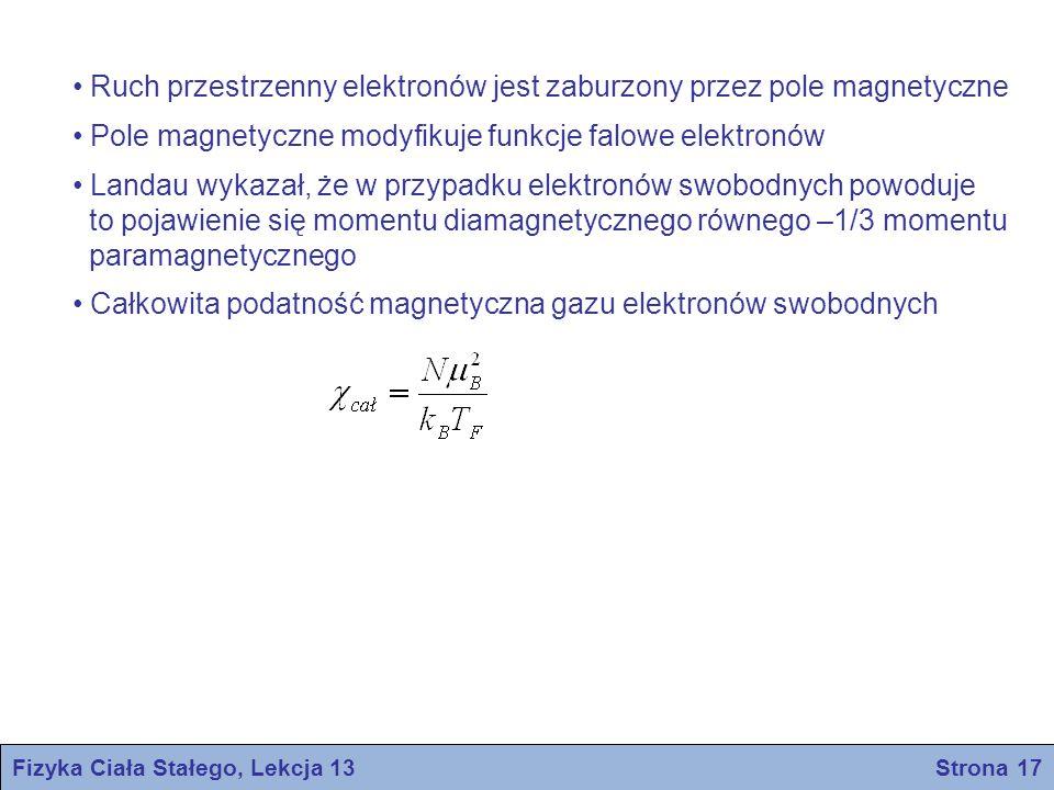 Fizyka Ciała Stałego, Lekcja 13 Strona 17 Ruch przestrzenny elektronów jest zaburzony przez pole magnetyczne Pole magnetyczne modyfikuje funkcje falow