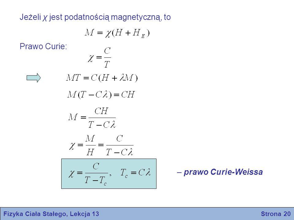 Fizyka Ciała Stałego, Lekcja 13 Strona 20 Jeżeli χ jest podatnością magnetyczną, to Prawo Curie: – prawo Curie-Weissa