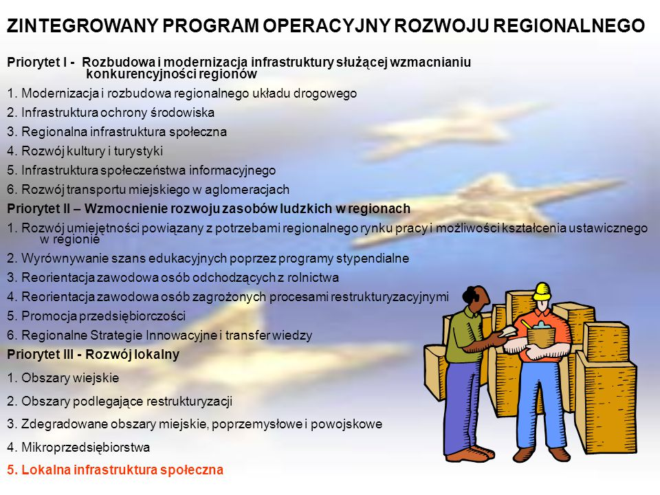 ZINTEGROWANY PROGRAM OPERACYJNY ROZWOJU REGIONALNEGO Priorytet I - Rozbudowa i modernizacja infrastruktury służącej wzmacnianiu konkurencyjności regio