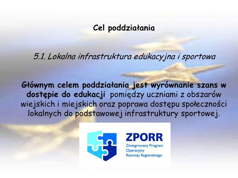 Cel poddziałania 5.1. Lokalna infrastruktura edukacyjna i sportowa Głównym celem poddziałania jest wyrównanie szans w dostępie do edukacji pomiędzy uc