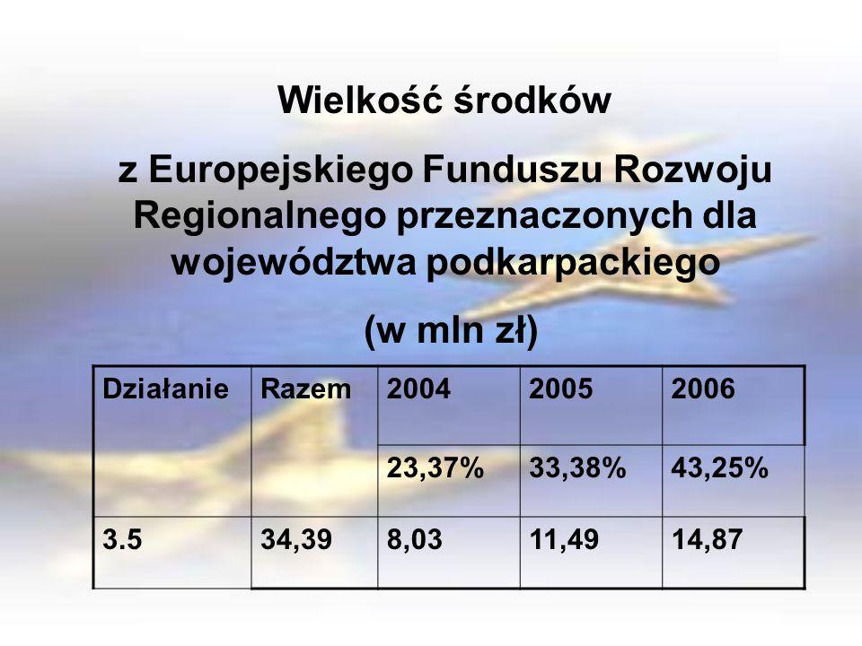 Wielkość środków z Europejskiego Funduszu Rozwoju Regionalnego przeznaczonych dla województwa podkarpackiego (w mln zł) DziałanieRazem200420052006 23,