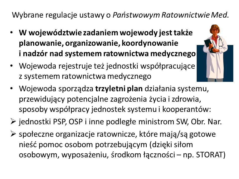 Wybrane regulacje ustawy o Państwowym Ratownictwie Med. W województwie zadaniem wojewody jest także planowanie, organizowanie, koordynowanie i nadzór