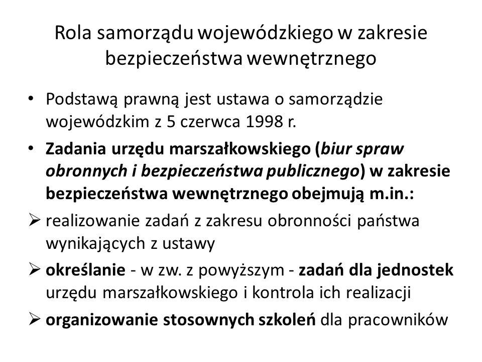 Rola samorządu wojewódzkiego w zakresie bezpieczeństwa wewnętrznego Podstawą prawną jest ustawa o samorządzie wojewódzkim z 5 czerwca 1998 r. Zadania