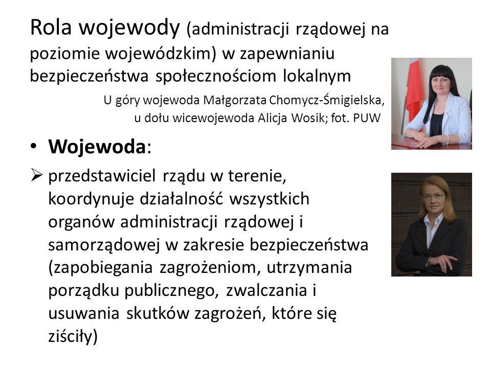 Rola wojewody (administracji rządowej na poziomie wojewódzkim) w zapewnianiu bezpieczeństwa społecznościom lokalnym U góry wojewoda Małgorzata Chomycz