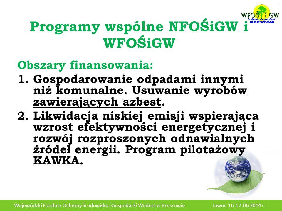 Programy wspólne NFOŚiGW i WFOŚiGW Obszary finansowania: 1.Gospodarowanie odpadami innymi niż komunalne.