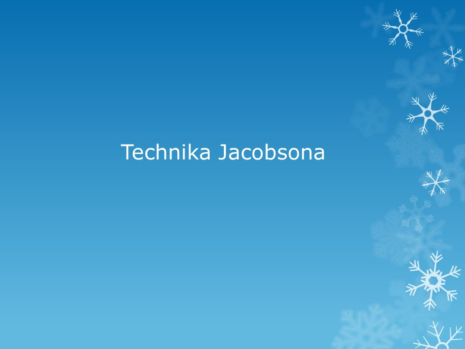 Metoda i trening Jacobsona Prostą i skuteczną metodą relaksacji jest trening Jacobsona ( inaczej : metoda Jacobsona ) Twórcą tej techniki jest Edmund Jacobson Metoda Jacobsona polega na nauce rozluźnienia wszystkich partii ciała poprzez naprzemienne napinanie i rozluźnienie poszczególnych grup mięśni.