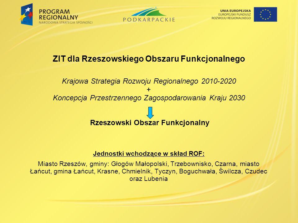 ZIT dla Rzeszowskiego Obszaru Funkcjonalnego Krajowa Strategia Rozwoju Regionalnego 2010-2020 + Koncepcja Przestrzennego Zagospodarowania Kraju 2030 R