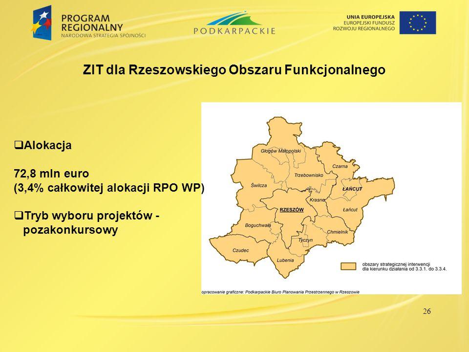 ZIT dla Rzeszowskiego Obszaru Funkcjonalnego  Alokacja 72,8 mln euro (3,4% całkowitej alokacji RPO WP)  Tryb wyboru projektów - pozakonkursowy 26
