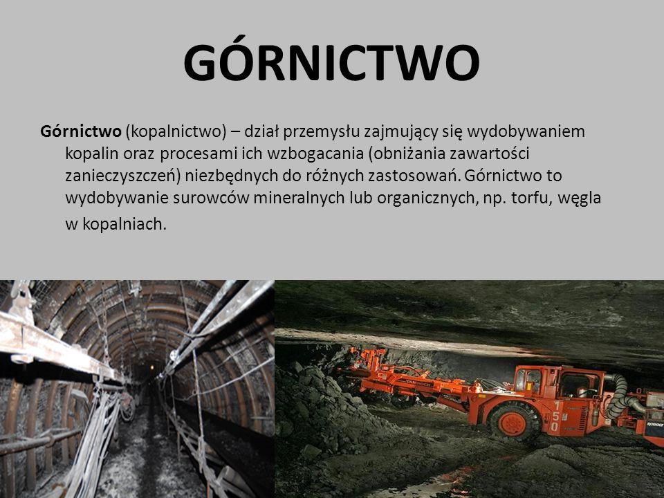 GÓRNICTWO Górnictwo (kopalnictwo) – dział przemysłu zajmujący się wydobywaniem kopalin oraz procesami ich wzbogacania (obniżania zawartości zanieczysz