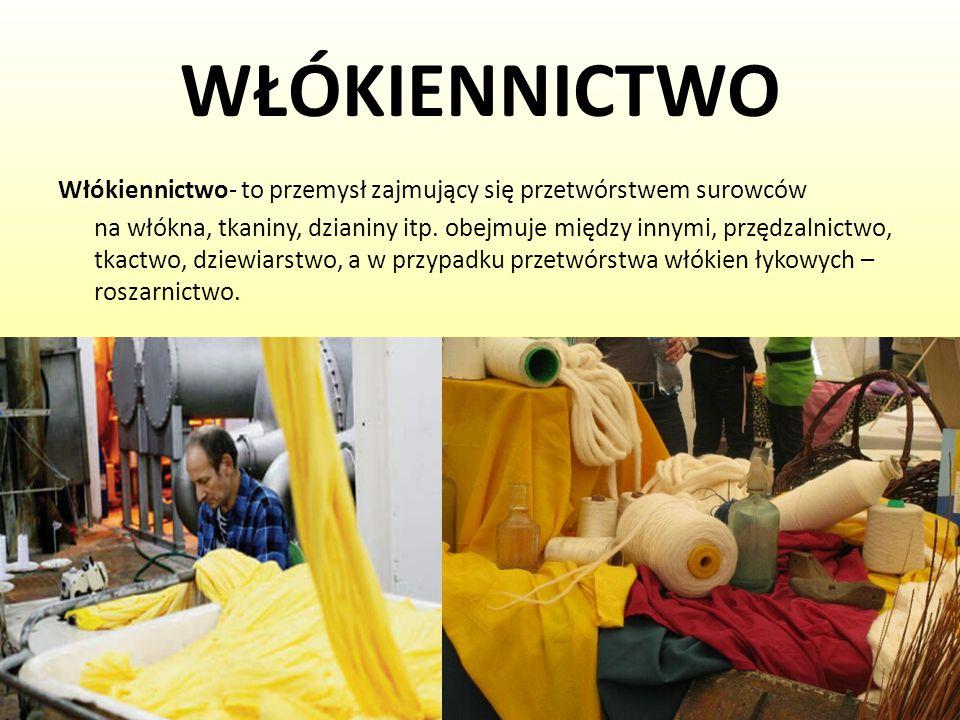 WŁÓKIENNICTWO Włókiennictwo- to przemysł zajmujący się przetwórstwem surowców na włókna, tkaniny, dzianiny itp. obejmuje między innymi, przędzalnictwo