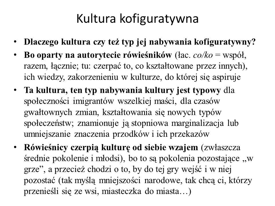 Kultura kofiguratywna Dlaczego kultura czy też typ jej nabywania kofiguratywny.