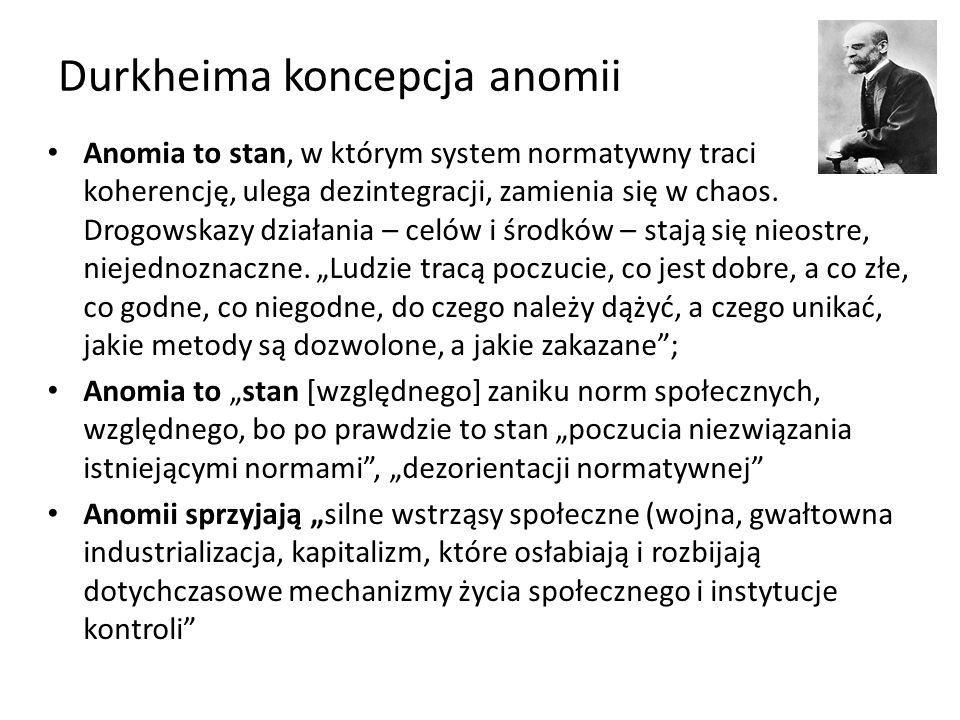 Durkheima koncepcja anomii Anomia to stan, w którym system normatywny traci koherencję, ulega dezintegracji, zamienia się w chaos.