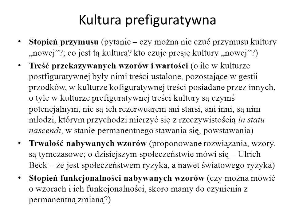 """Kultura prefiguratywna Stopień przymusu (pytanie – czy można nie czuć przymusu kultury """"nowej ?; co jest tą kulturą."""