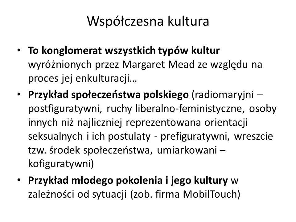 Współczesna kultura To konglomerat wszystkich typów kultur wyróżnionych przez Margaret Mead ze względu na proces jej enkulturacji… Przykład społeczeństwa polskiego (radiomaryjni – postfiguratywni, ruchy liberalno-feministyczne, osoby innych niż najliczniej reprezentowana orientacji seksualnych i ich postulaty - prefiguratywni, wreszcie tzw.