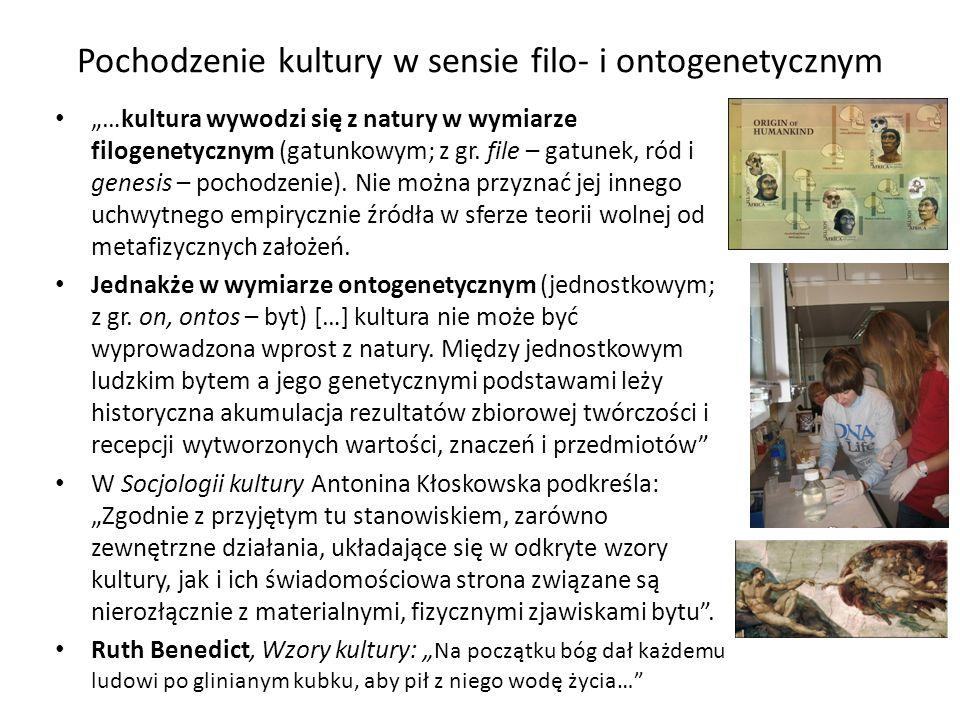 """Pochodzenie kultury w sensie filo- i ontogenetycznym """"…kultura wywodzi się z natury w wymiarze filogenetycznym (gatunkowym; z gr."""