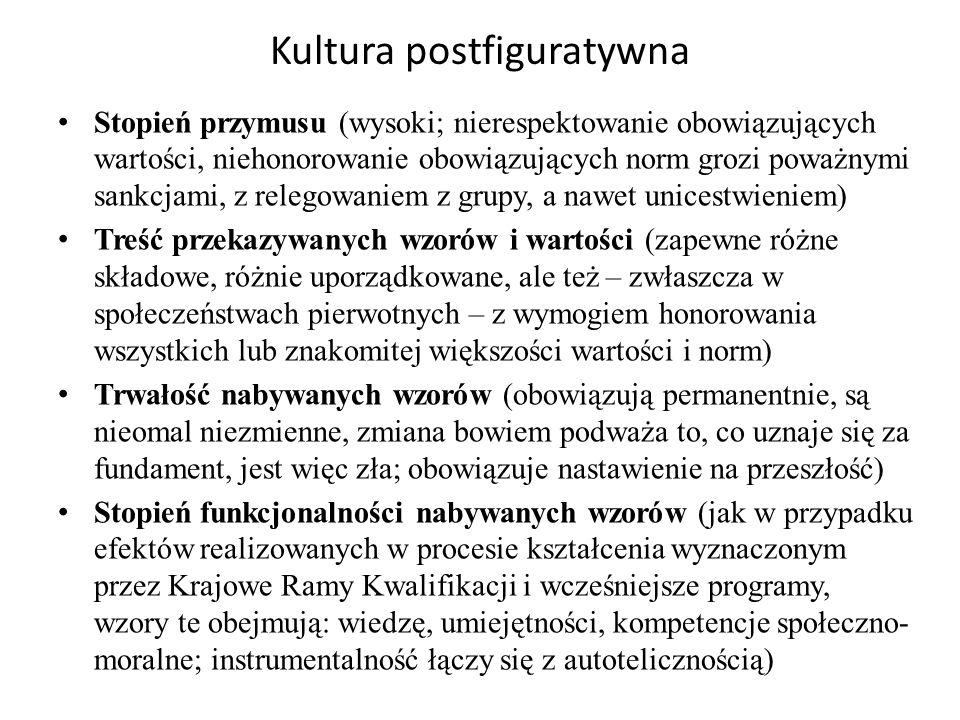 Kultura postfiguratywna Dlaczego kultura czy też typ nabywania kultury postfiguratywny.