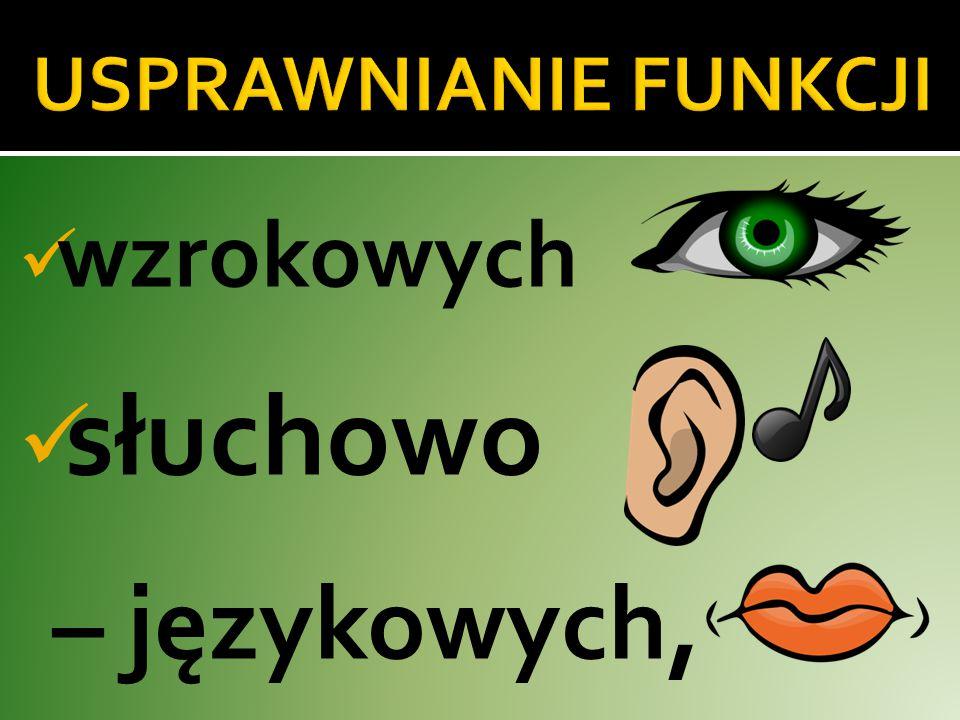 wzrokowych słuchowo – językowych,