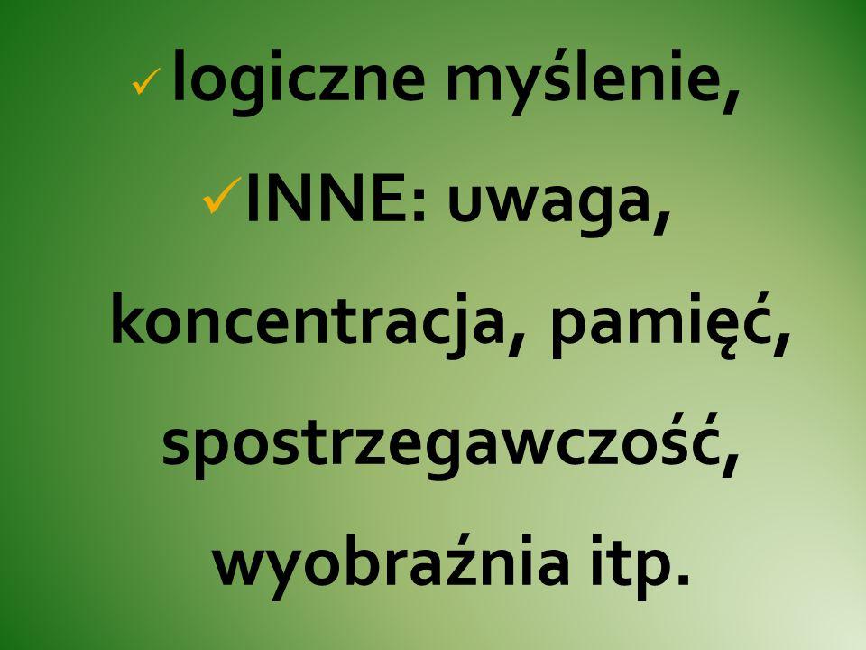 logiczne myślenie, INNE: uwaga, koncentracja, pamięć, spostrzegawczość, wyobraźnia itp.