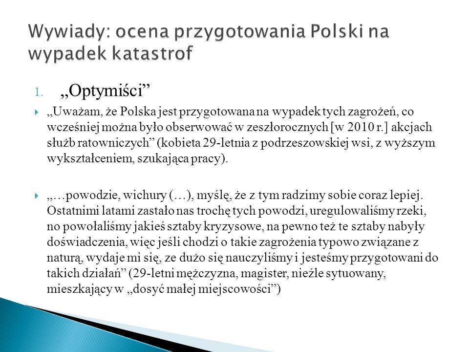 """1. """"Optymiści""""  """"Uważam, że Polska jest przygotowana na wypadek tych zagrożeń, co wcześniej można było obserwować w zeszłorocznych [w 2010 r.] akcjac"""