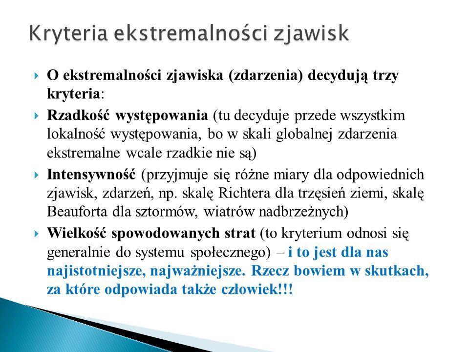  O ekstremalności zjawiska (zdarzenia) decydują trzy kryteria:  Rzadkość występowania (tu decyduje przede wszystkim lokalność występowania, bo w ska