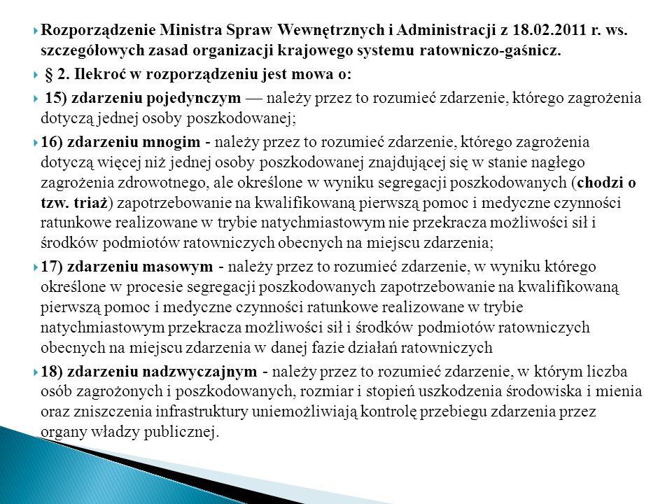  Rozporządzenie Ministra Spraw Wewnętrznych i Administracji z 18.02.2011 r. ws. szczegółowych zasad organizacji krajowego systemu ratowniczo-gaśnicz.