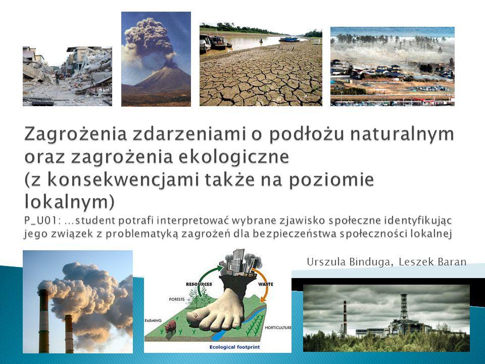 1.Wydarzenia ekstremalne o podłożu naturalnym 2. Zagrożenia ekologiczne (wybrane przykłady) 3.