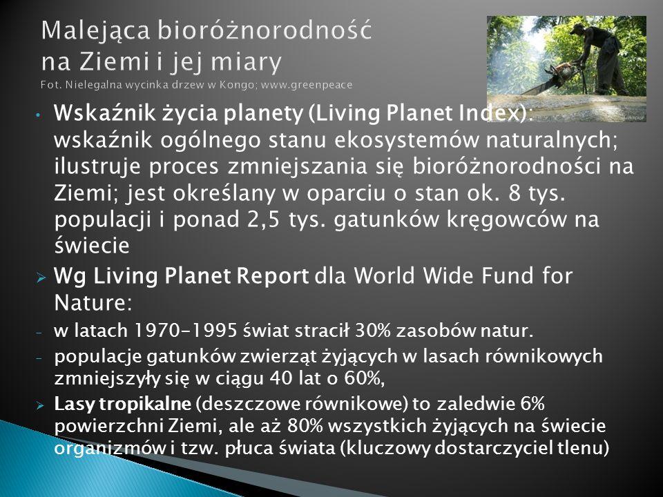 Wskaźnik życia planety (Living Planet Index): wskaźnik ogólnego stanu ekosystemów naturalnych; ilustruje proces zmniejszania się bioróżnorodności na Z
