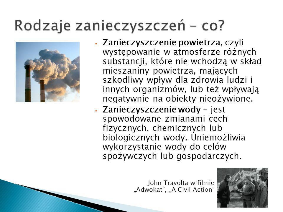 Zanieczyszczenie powietrza, czyli występowanie w atmosferze różnych substancji, które nie wchodzą w skład mieszaniny powietrza, mających szkodliwy wpł