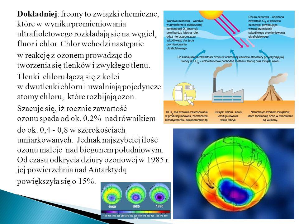 Dokładniej: freony to związki chemiczne, które w wyniku promieniowania ultrafioletowego rozkładają się na węgiel, fluor i chlor. Chlor wchodzi następn