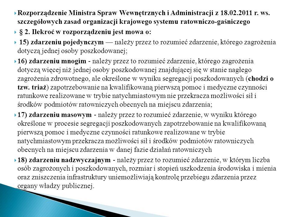  Rozporządzenie Ministra Spraw Wewnętrznych i Administracji z 18.02.2011 r. ws. szczegółowych zasad organizacji krajowego systemu ratowniczo-gaśnicze