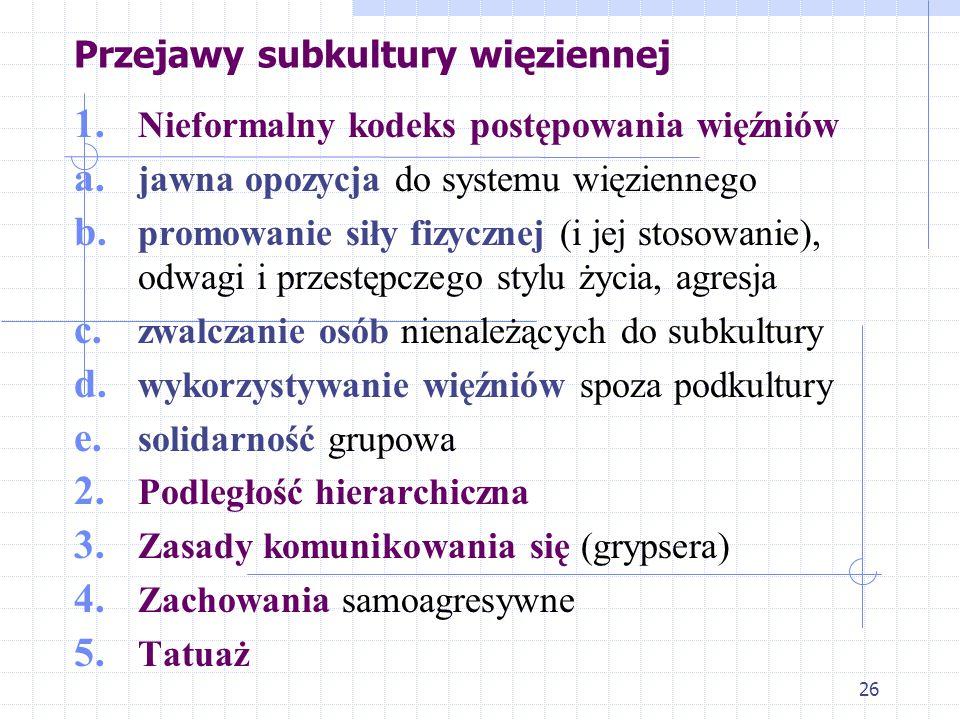 26 Przejawy subkultury więziennej 1.Nieformalny kodeks postępowania więźniów a.