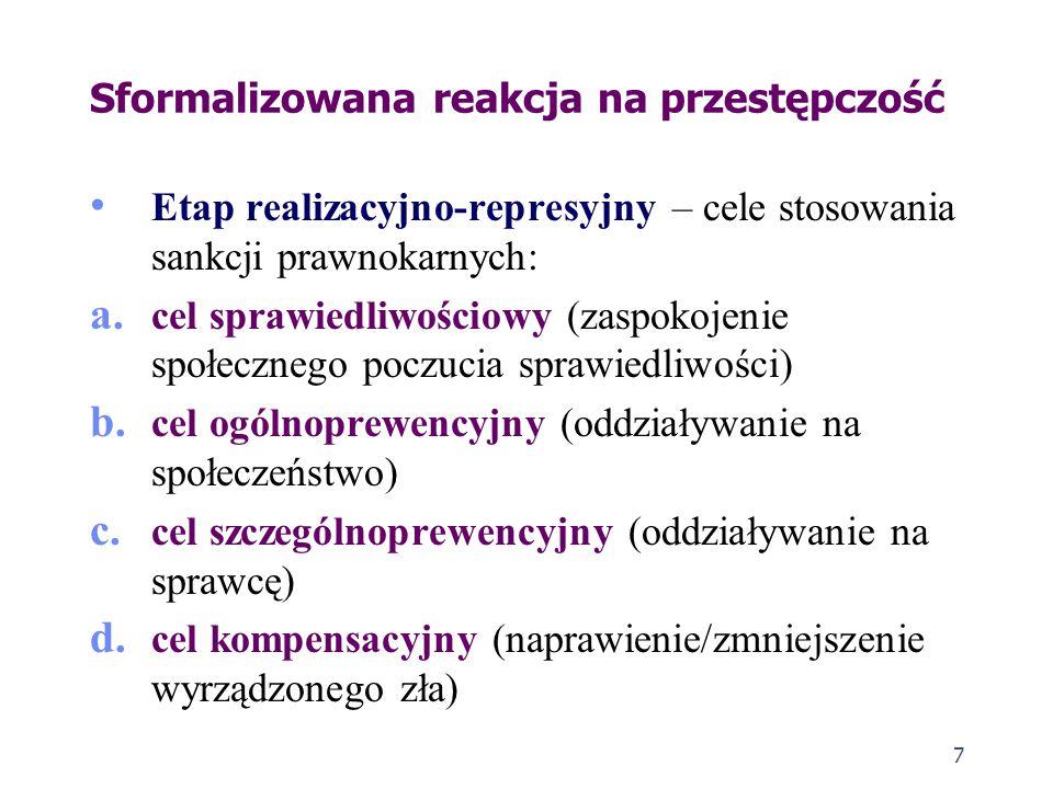 7 Sformalizowana reakcja na przestępczość Etap realizacyjno-represyjny – cele stosowania sankcji prawnokarnych: a.